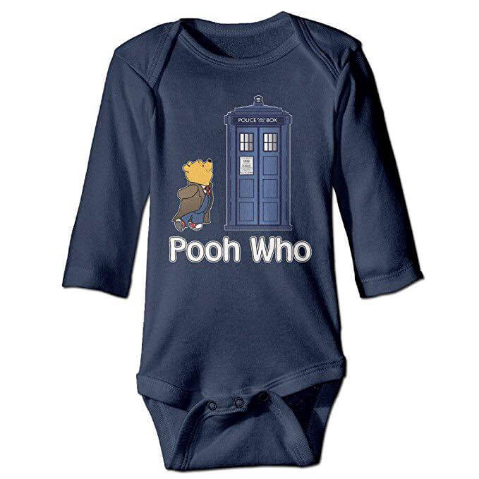 Doctor Who Winnie The Pooh crossover baby sleeping suit